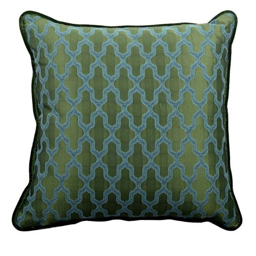 Carre Green with Diamonds Pillow by L'Opificio