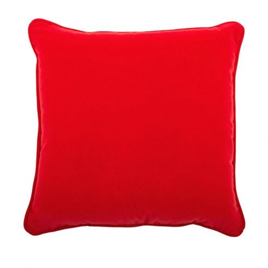 Carre Red Cotton Velvet Cushion by L'Opificio