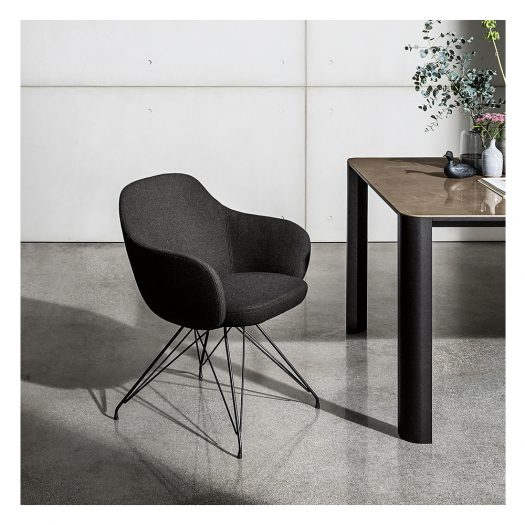 Cadira Wire Black Chair with Armrests by Sovet Italia