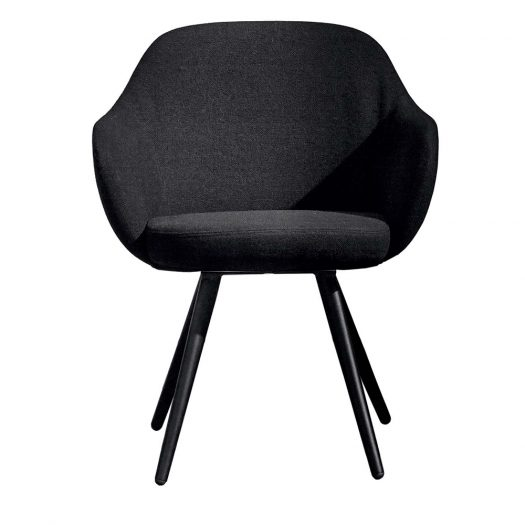 Cadira Cone-Shaped Black Chair with Armrests by Sovet Italia