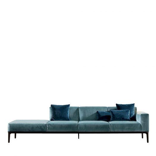 Slim 4-Seater Sofa in Light Blue Velvet by Sovet Italia