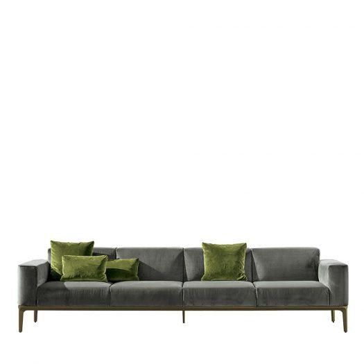 Slim 4-Seater Sofa in Taupe Velvet by Sovet Italia