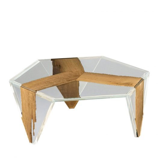 Ruche Venezia Glass and Wood Low Coffee Table by VGnewtrend