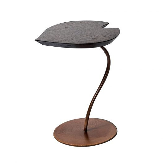 Leaf Wood and Metal Side Table by VGnewtrend