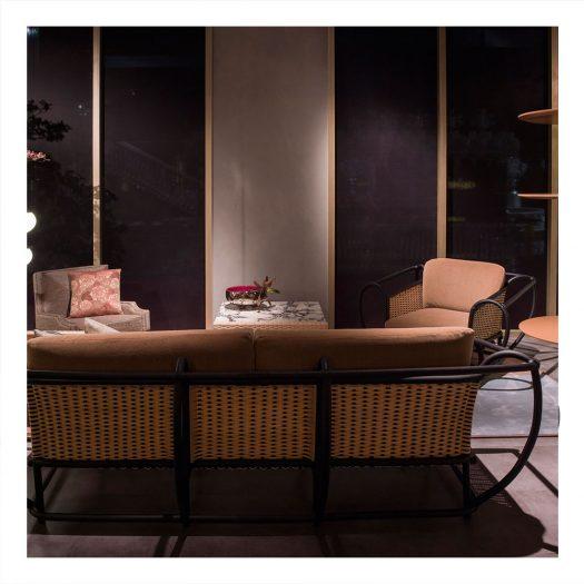 Green Channel Sofa with Black Frame by Zanaboni Edizioni