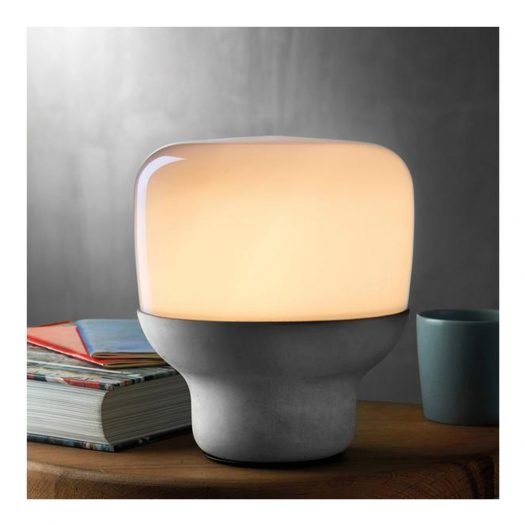 SmoothLamp in Opaque Glass with Stone Base