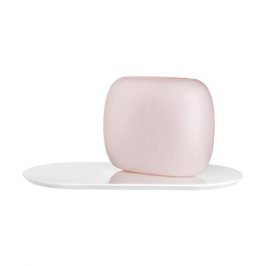 SweetsVase Opal Pink with White Glossy Base Large