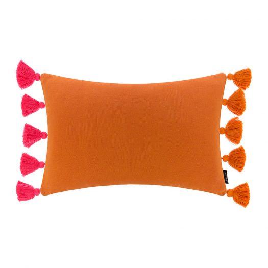 Reversible Knitted Pom Pom Trim Cushion - 40x60cm - Pink & Orange