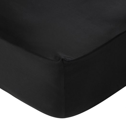Egyptian Cotton Sateen Fitted Sheet - Black - Double