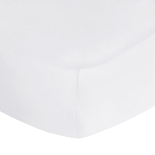 500 Thread Count Sateen Fitted Sheet - White - Double