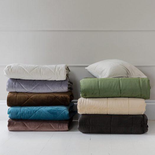 Diamond Velvet Bedspread – Beige – 140x200cm