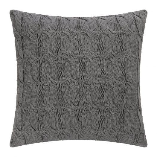 Cable Knit Cushion - 45x45cm - Dark Grey