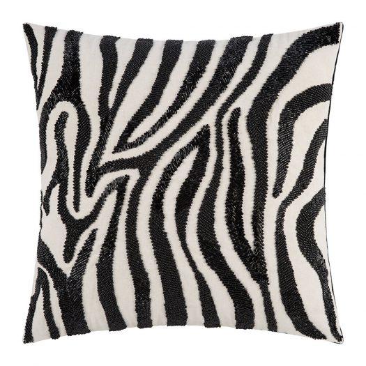 Zebra Beaded Cushion - 45x45cm