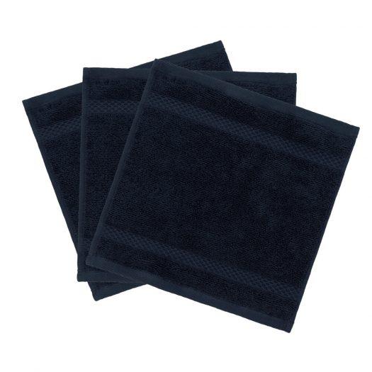 Egyptian Cotton Towel - Navy - Face Cloths - Set of 3