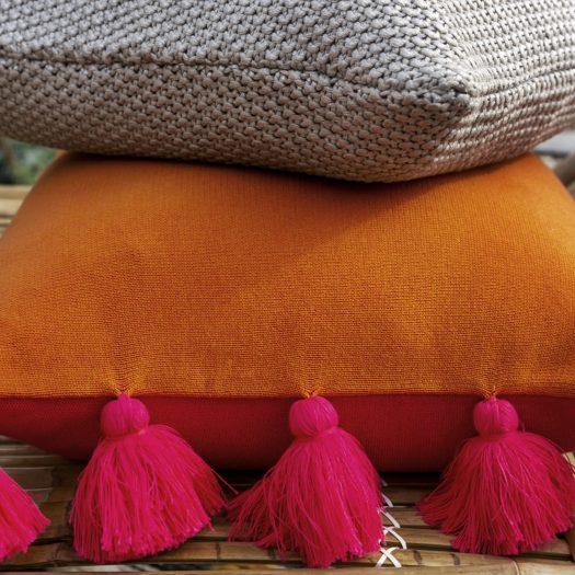 Reversible Knitted Pom Pom Trim Cushion – 40x60cm – Pink & Orange
