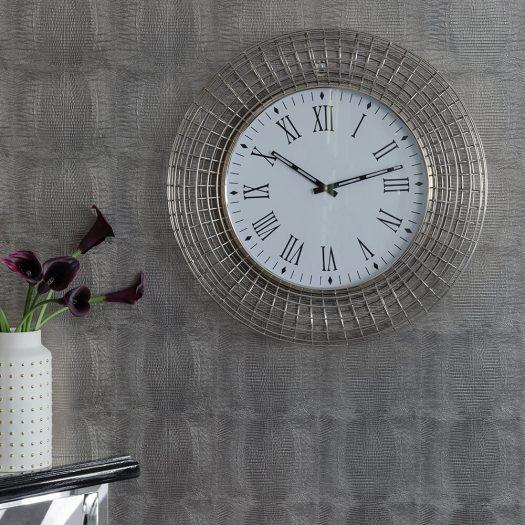 Industrial Wall Clock – Silver