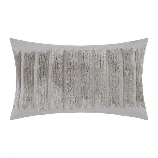 Grey Textured Stripe Cushion - 30x50cm