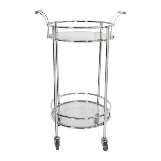 Silver Mirror Drinks Trolley - Round