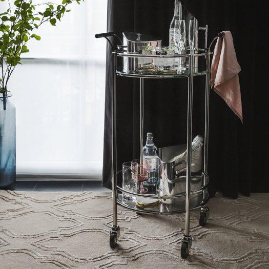 Silver Mirror Drinks Trolley – Round