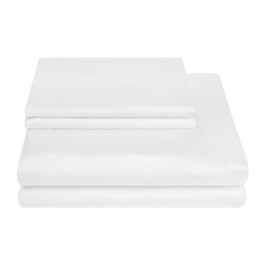 Egyptian Cotton Sateen Duvet Cover - White - Double
