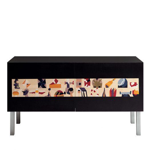 Intarsia Cabinet by Ugo Nespolo