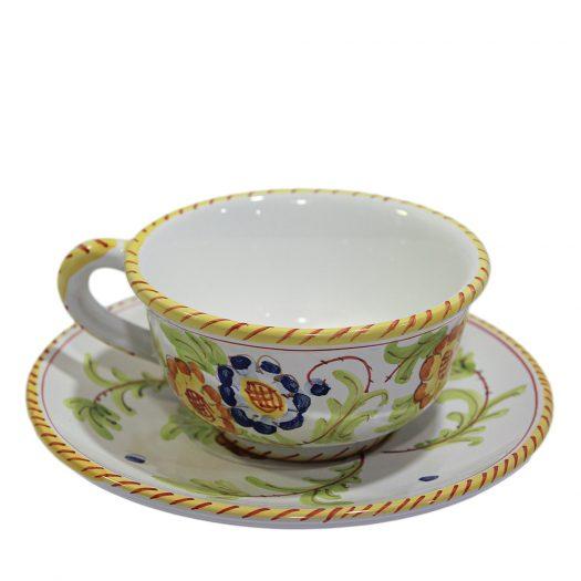 Tuscia Teacup Set for 6 by Lorenza Adami by Sbigoli Terracotte Firenze