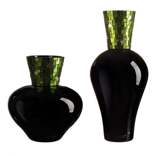 Corona Diadema Vases Black Green and Gold by Serena Luxury Mosaic