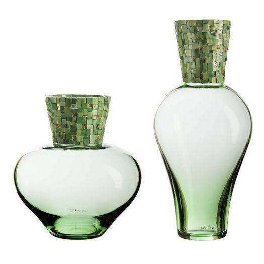 Corona Diadema Vases Green by Serena Luxury Mosaic