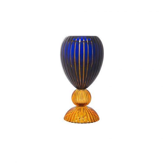 Mirus Medium Blue and Amber Vase by Tondo Doni by Mario Cioni