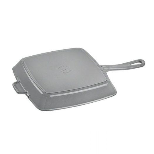Staub American Graphite Grey Cast Iron Square Grill Pan, 26cm