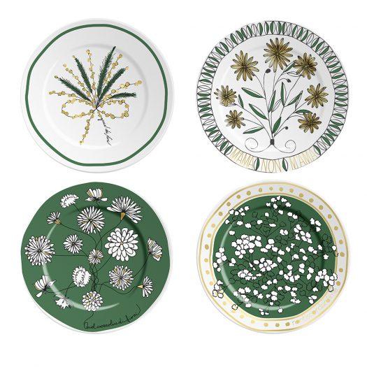 Set of 4 Bouquet Plates Green