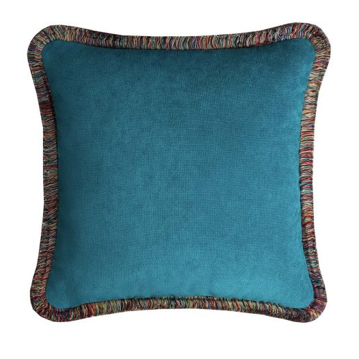 Peru' Teal Happy Pillow by Lo Decor