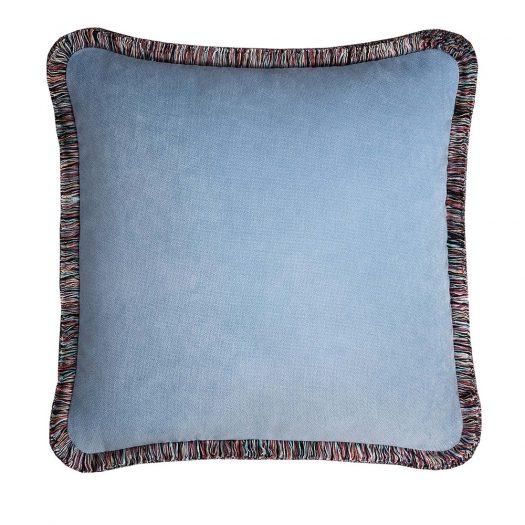 Mexico Light Blue Happy Pillow by Lo Decor