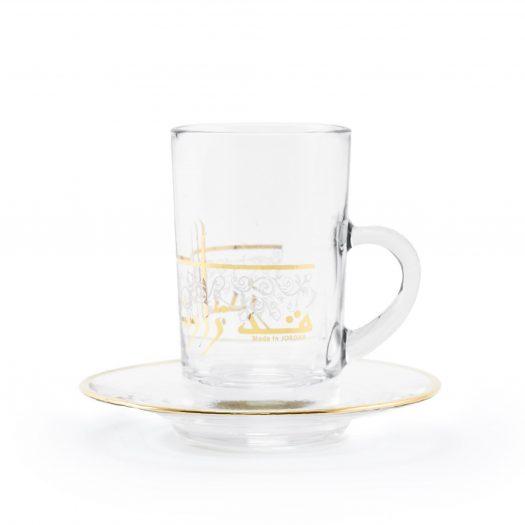 Set of 6 Pcs Tea Cups and Saucers (Gold)