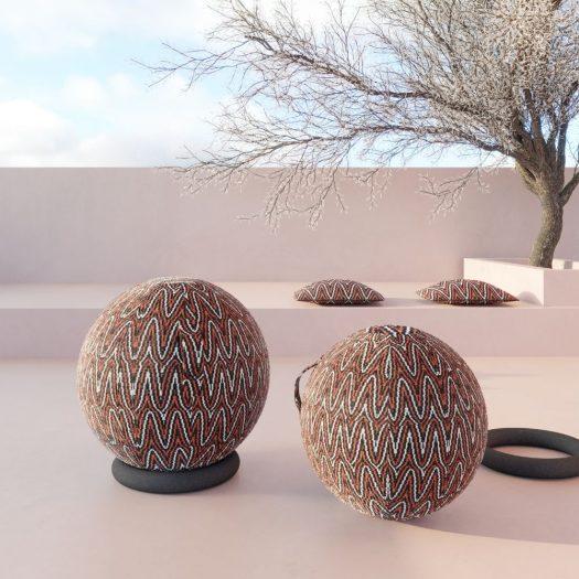 Svelta Outdoor Ottoman Balls Orange