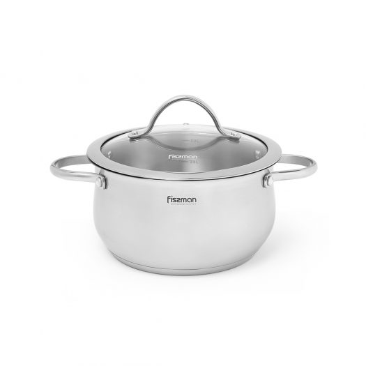 Stockpot VALERY 20x10 cm / 3.1 LTR with glass lid (stainless steel)