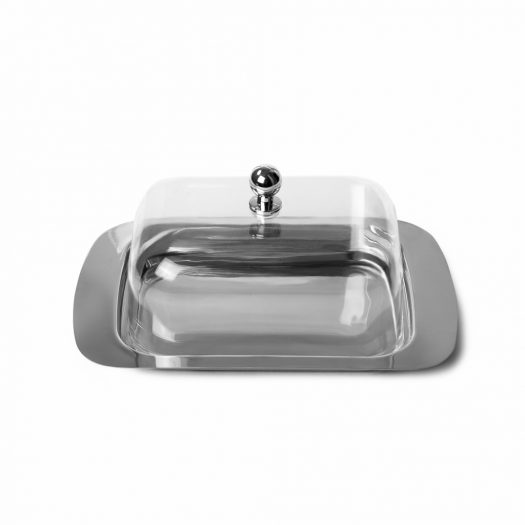 Butter dish with plastic lid 18x12x7 cm (stainless steel)
