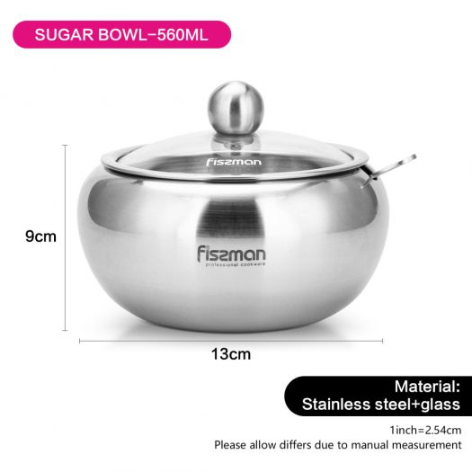 Sugar bowl with glass lid  and spoon 560 ml (stainless steel)