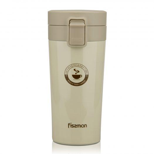 Double wall vacuum travel mug 320 ml, color ECRU (stainless steel)