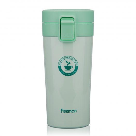 Double wall vacuum travel mug 320 ml, color AQUAMARINE (stainless steel)