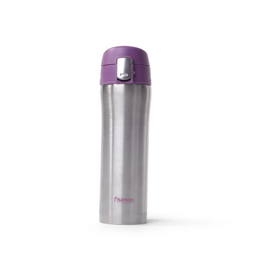 Double wall vacuum travel mug 420 ml PLUM (stainless steel)