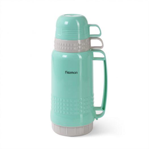 Vacuum flask 1000 ml AQUAMARINE (plastic case with glass liner)