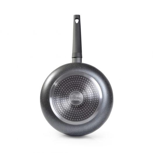Frying pan GREY STONE 20×4.0 cm with induction bottom (pressed aluminium with matt sanding grey non-stick coating)