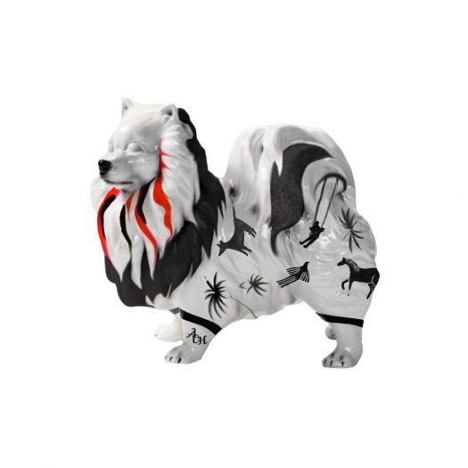 Pomeranian Black and White  ceramic dog decor